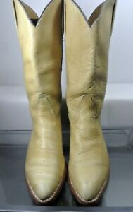 Frye 6278 Vintage Western Mid Pull On Beige Leather Women US 8.5  Made In USA
