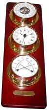 Schiffsuhr, Barometer ,Thermo/Hygrometer auf Holztafel Instrumente Wetterstation
