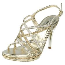 Spot On F10457 Ladies Gold/Diamante /Party/Evening Shoes UK 3 to 8 (R17A)