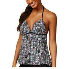 Hula Honey Tankini Top Sz S Black Multi Geo Print Push-up Halter Tank 60jt0018