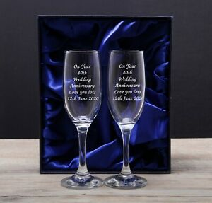 Personalised Message Wedding Bride and Groom Toasting Champagne Flutes Glasses