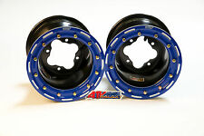 "DWT G3 Black Blue Rear Beadlock Rims Wheels 9"" 4/115 YFZ450 YFZ450R Raptor 700"