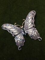 1980s Butterfly Brooch Enamel Diamanté Lilac Metallic Vintage Pin