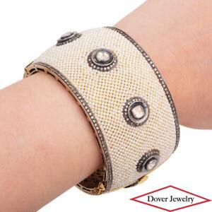 5.56ct Diamond Seed Pearl 14K Gold Silver Wide Cuff Bangle Bracelet 117.0 Gr NR