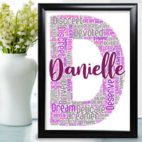 Personalised Birthday Gift Letter Word Art For Her Mum Auntie Initial D Name