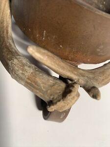 Deer Antler Pillar Candle Holder Lodge Cabin Decor Primitive And Vintage