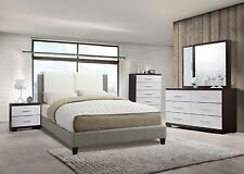 Queen Size Bed Modern 1pc Bedroom Set Faux Leather two Panel Headboard Bedframe