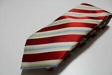 cravatta tie krawatte FUSARO regimental rosso red 100% seta silk soie (L73)
