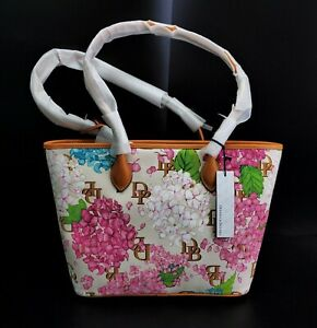 Dooney & Bourke Hydrangea Floral Monogram Tote Bag in Cream  -BBJ1351