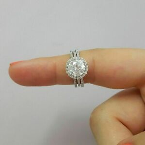 14K White Gold FN 2CT Round Cut Diamond Trio Set Wedding Engagement Ring For Her