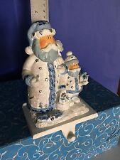 "7"" Santa Claus White & Blue Glitter Stocking Hanger 5"" Cast Iron Base"