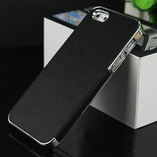 Black/Silver Frame Luxury Leather Chrome Hard Back Case  iPhone 5 5S