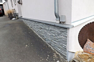 Sockel-Verblendsteine: Grau Rau , Mauerverblender, Wandgestaltung, Echtstein,