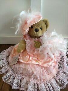 Vintage Bearly People Victorian Elegance Lady Caroline Bear Plush Pink Feathers