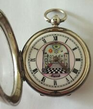 RARE SILVER MASONIC WATCH WITH PICTURE DIAL FUSEE  WORKING C1934 SOLD WITH KEY