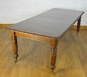 Antique 10 seater wind out extending carved oak dining table / kitchen table