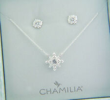 4016-0019 CHAMILIA STERLING SILVER HEIRLOOM LACE NECKLACE EARRING BOX SET