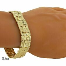 "14k Yellow Gold Nugget Bracelet Adjustable 7""-7.5"" 15.5mm 36.5 grams"