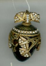 Russian Faberge egg Pendant Large Blue Gem w/gold decor & stones.14-008