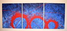 Acrilico Pittura Tela TRITTICO ARTE MODERNA artista astratto wall blu nero