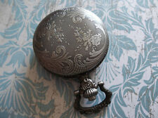 Antiqued Silver Pocket Watch Locket - Fillable Clear See Thru Inside Compartment