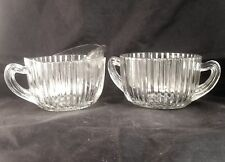 QUEEN MARY CREAMER CREAM PITCHER SUGAR BOWL Anchor Hocking Clear Vertical Bands