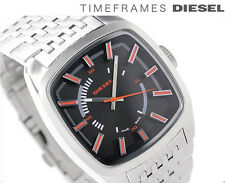 NWT Diesel Mens Watch Silver Stainless Bracelet Black Square Dial DZ1588 $235
