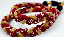 "Kids 18"" Maroon Gold Scarlet Crimson Titanium Sports Necklace Tornado Baseball"