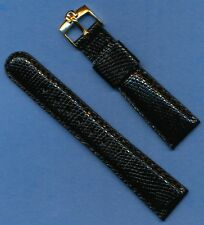 Gold Plated Omega Buckle, Black 19mm Genuine Lizard MB Strap Band Leather Lined