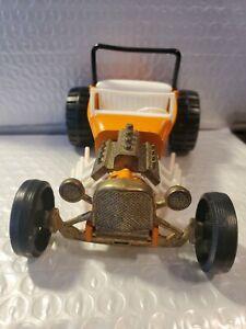 Hubley #1523 Pressed Steel Orange  Hot Rod w/Gabriel Tires