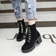 Women Lace up Round Toe Platform Ankle Boot High Block Heel Buckle High Top Shoe