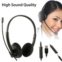 3.5mm Jack + USB Headset with Mic Lightweight Chat Wired Overhead Headphones
