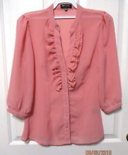 Ladies Frilly blouse apricot 3/4 long sleeves size Small  Red Berry Label
