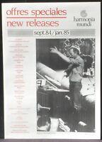 Plaquette Harmonia mundi Offres spéciales 1984-85 NM