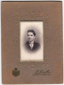 Gelatin silver passe-partout Naples Portrait of a guy Photo Fiorillo 1900c S661