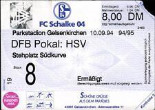 Ticket DFB-Pokal 94/95 FC Schalke 04 - Hamburger SV, 10.09.1994 - Südkurve, E