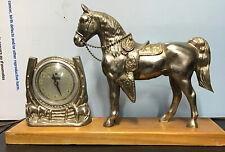 Vintage Lincoln Horse & Horseshoe Mantel Clock