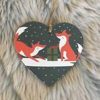 Handmade Decoupaged wooden hanging heart Christmas decorations