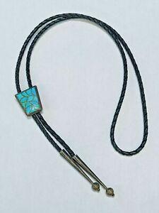 Bennett Pat. Pend. Sterling Silver Bolo Tie Necktie Turquoise Stone Vintage