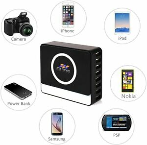 Wireless Super Charger Q7S Qi Enabled+8 Multi USB Ports supports Android & Apple