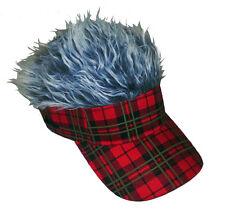 FLAIR HAIR HATS WITH HAIR TARTAN RED VISOR GREY HAIR SURF SKATE SNOW GOLF FISH