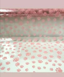 100m Roll Pink Paw Print Cellophane Dog / Cat Paw Print Cello Brand New