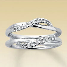2/10ct Diamond Solitaire Enhancer Wrap Engagement Band Ring In 14K White Gold Fn