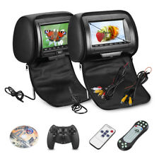 Black 2pcs 7″ TFT LCD Screen 800*480 Car Pillow Headrest Player Monitor Game DVD