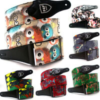 Embroidered Print Guitar Strap Belt Widen Electric Acoustic Bass Guitar Belt CR