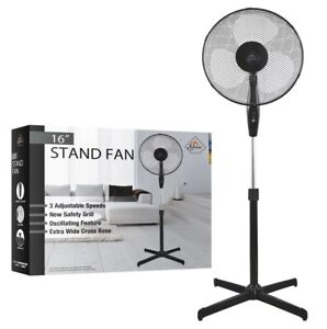 """16"""" Oscillating Extendable Free Standing Tower Pedestal Cooling Fan Black New UK"""