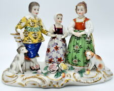 19THC ANTIQUE DRESDEN PORCELAIN GROUP FIGURES MAN LADY & YOUNG GIRL WITH 2 DOGS