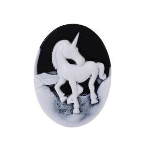 1 Large Unicorn Cameo Cabochon Oval Domed Flat Back Flatback 40x30 Black White