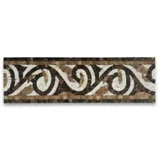 B0082P Garden Emperador 4.7x15.7 Marble Mosaic Border Listello Tile Polished
