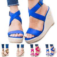 Women's Mid Wedge Heel Espadrilles Summer Sandals Cross Ankle Strap Buckle Shoes